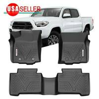 Black Floor Mats For 2016-2017 Toyota Tacoma Double Cab All Weather Protection