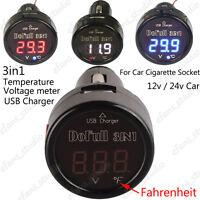 3in1 Digital LED 12V 24V Car Cigarette Lighter Voltmeter Thermometer USB Charger