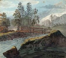 BRIDGE & RIVER - VALLEY OF CHAMONIX FRANCE Watercolour Painting E CAMPBELL 1822
