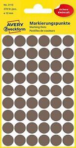 AVERY Zweckform 3113 selbstklebende Markierungspunkte (Ø 12 mm, 270 Klebepunkte