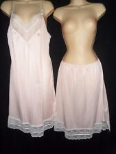 Vtg BODY LITES PINK Half & FULL SLIP Set lot 36 M LARGE L Lace Antron III Nylon