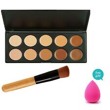 Pro Oval Brush and New 15 10 Colors Contour Palette MakeUp Kit Concealer Cream
