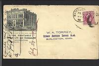 WATERLOO, IOWA 1890 #220 COVER, ILLUST BUILDING ADVT. THE EQUITABLE MUTUAL LIFE.