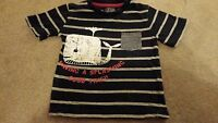 Minoti Baby boy t-shirt top 18-24 months cotton striped whale blue vgc