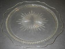 "Jeannette Glass SUNBURST ""Herringbone"" Clear Sandwich Plate 11 7/8"" Depression."