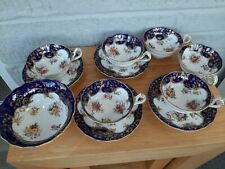 ROYAL WORCESTER ANTIQUE PART TEA SET. COLBALT BLUE, FLORAL. GOLD DETAILS. BOWL.