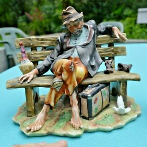 Large CAPODIMONTE Hobo on a Bench Signed