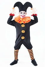 Childrens Evil Jester Fancy Dress Costume Halloween Clown Kids Outfit 7-10 Yrs