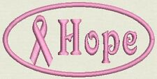 "Breast Cancer Awareness  Patch Tag, Badge - Hope - Iron On / Sew On 4""x1.75"