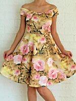 Women's Off Shoulder Floral Beige Pink Fit & Flare Party Evening Racer Dress