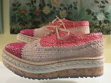 NWB Womens Authentic PRADA Pink Cork Oxford Platform Wing Tip Shoes Size 40/10