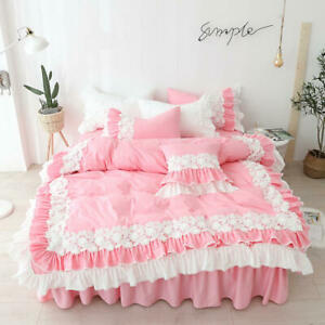 Lace Flower Bedding Set King QueenTwin Size 4Pc Pink Girl Princess Bed skirt set