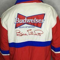 Vintage Budweiser Jacket Sz L Bill Elliett USA Made Racing King Of Beers Red