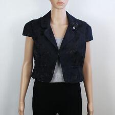River Island Womens Size 12 Short Crop Sleeveless Black Jacket