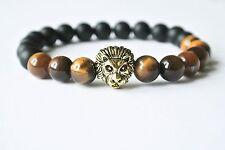 Handgefertigtes Löwen Armband Gold Onyx Perlen Tigerauge Löwe Edelstein Buddha