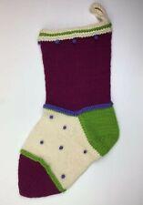 "Handmade Large Knit Christmas Stocking Colorblock Green Cream Holiday 24"""