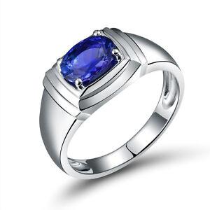 18K White Gold  Enagement 6x8mm Oval Tanzanite Gemstone Wedding Fine Men Ring