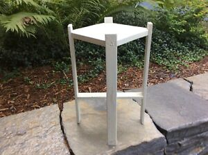 Vntg Arts and Crafts Wood White Plant Stand Table Mission Stickley era Taboret