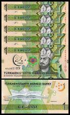 Turkmenistan 1 Manat 2017, Unc, Consecutive 5 Pcs Lot, Commemorative, P-36