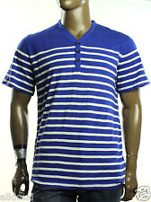 NEW KENNETH COLE REACTION Y NECK BLUE STRIPE COTTON T SHIRT TEE XXL