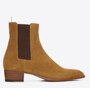Men Suede Pointed toe Pull on Block Heel Chelsea Boots Western Coboy Boots Shoes