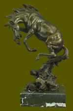 Signed Original Art Deco Rearing Horse Bronze Sculpture Marble Base Statue Decor
