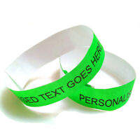 50 Green 19mm Personalised Tyvek Wristband Entry Party Custom Ticket Entrance