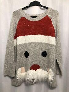 :419 Yours Plus Sz 30/32 Santa Face Fluffy Beard Xmas Jumper