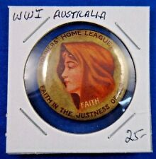 Original Vintage Wwi Ww1 Australia Soldiers' Home League Faith Pin Button