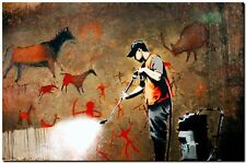 "BANKSY STREET ART *FRAMED* CANVAS PRINT Cave Painting spray paint 18x12"""