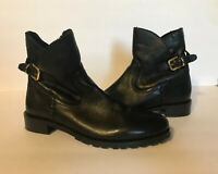 $260 Catherine Malandrino Shellie Womens Lined Leather Ankle Boots Black Sz 39