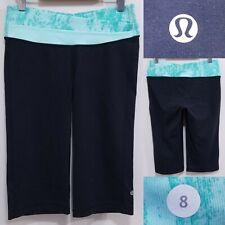 Lululemon ASTRO Green Camo Stripe Crop Yoga Leggings Size 8 Medium Run