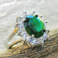 925 Sterling Silver Emerald White Topaz Women Wedding Engagement Ring Size 5.5