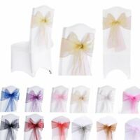 """Organza Sashes Chair Cover Wider Fuller Bow Sash Wedding Party 10 Pcs 7""""x108"""""""