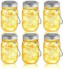 Mason Jar Solar Lights, 6 Pack 30 LEDs Fairy Lights with Lids and Hangers, IPX6