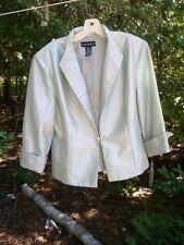 CACHET pale blue Beaded Brocade Jewel Button Blazer Dress Jacket size 16