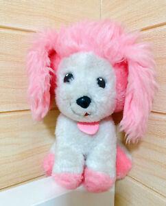 Vintage 1982  POOCHIE 9in. Plush Dog By Mattel Inc. Pink White Vintage 80'Toy 💕