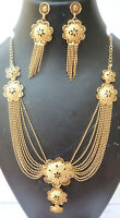 Indian 22K Gold Plated 12 Inch Long Fashion Necklace Earrings Weddings Set H