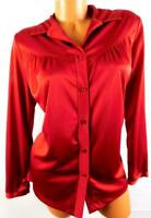 Women's plus size red long sleeve ruched career button down top 16