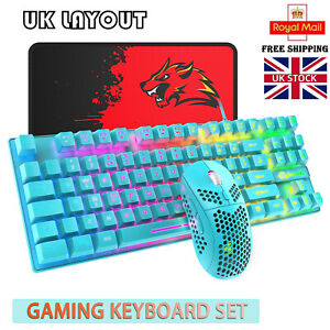 UK Layout Gaming Keyboard Mouse 88 Keys Rainbow Backlit 6400DPI for PC PS4 Xbox