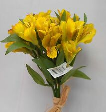 ARTIFICIAL SILK FLOWERS ALSTRO BUNDLE YELLOW