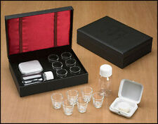 Cross Detail Faux Leather Box 6 Cup Portable Travel Communion Set Minister Gift