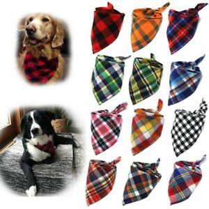 Dog Bandana Large Pet Scarf Cotton Plaid Washable Bow Tie Collar Cat Accessories