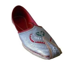 Men Shoes Indian Wedding Mojaries Handmade Leather Khussa Flip-Flops US 8-11