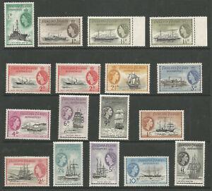 FALKLAND IS DEPENDENCIES SG G16-40  1954-62 QE2 SET INC SHADES 1.5d & 2d c.£238