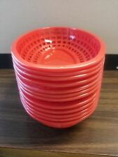 """(12) FOOD BASKETS 9"""" x 6"""" RED COLOR OVAL PLASTIC BURGERS/FRIES/USA MADE"""