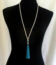 Natural Turquoise 4mm Beads Long Silk Tassel Necklace Crystals Yoga Boho Mala
