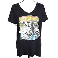 Junk Food Womens Asteroids Tshirt XL Black Ivory Graphic Ringer Tee Retro 80s
