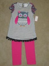 NWT Girls EMILY ROSE White/Blue Striped w/ floral OWL Shirt 2pc  Outfit Size  8