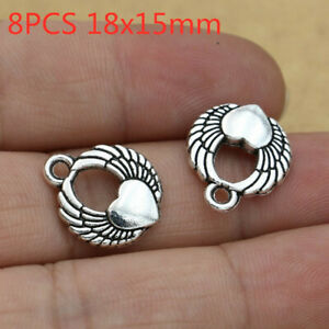 8pcs Heart Wings charms Antique Silver Tone Pendant Bead Jewelry Making 18x15mm
